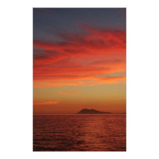 Sunset off the coast of Spain. Stationery