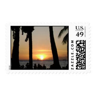 Sunset off Waikiki Beach in Honolulu, Hawaii Oahu Postage Stamp