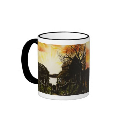 Sunset oil painting with old buildings coffee mug
