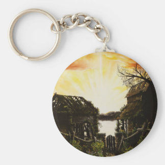Sunset oil painting with old buildings keychain