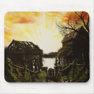 Sunset oil painting with old buildings mouse pad