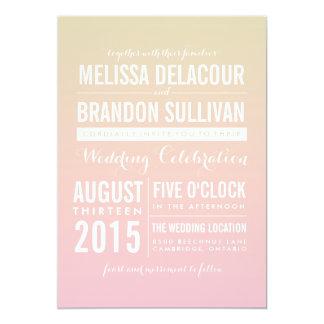 "Sunset Ombre / Gradient Beach Wedding Invitations 5"" X 7"" Invitation Card"