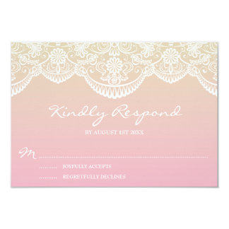 Sunset Ombre Lace Pattern Wedding RSVP Card
