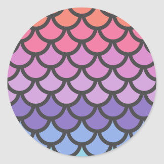 Sunset Ombre Mermaid Scales Classic Round Sticker