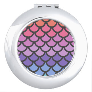 Sunset Ombre Mermaid Scales Compact Mirror