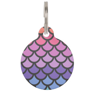Sunset Ombre Mermaid Scales Pet Nametag
