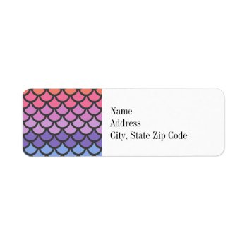 Sunset Ombre Mermaid Scales Label by OrganicSaturation at Zazzle