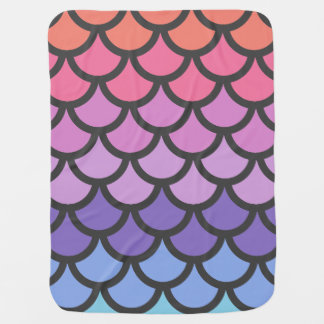 Sunset Ombre Mermaid Scales Stroller Blanket