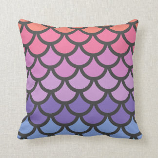 Sunset Ombre Mermaid Scales Throw Pillow