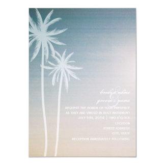 Sunset Ombré Palm Trees Beach Wedding Card