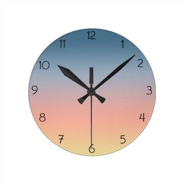 Beach Themed Sunset Ombre Wall Clock