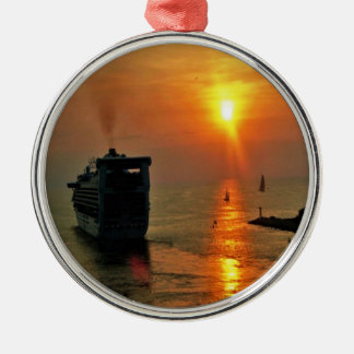 Sunset on  a Cruise Ship Metal Ornament