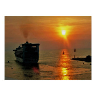 Sunset on  a Cruise Ship Poster
