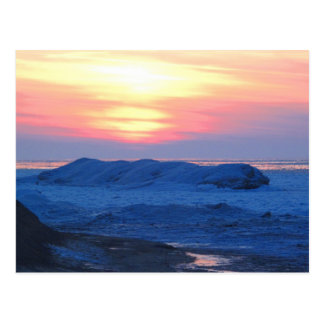 Sunset on a Frozen Great Lake Postcard