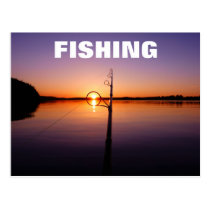 Sunset on a summer lake seen through a fishing rod postcard