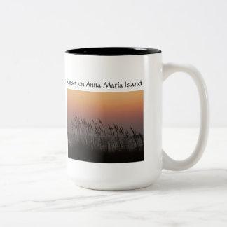 Sunset on Anna Maria Island, sunset thru sea oats Two-Tone Coffee Mug