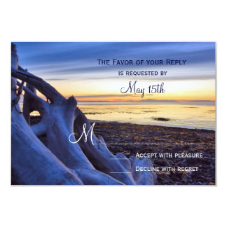 Sunset on Beach Evening Wedding RSVP Cards Custom Invitations