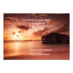 Sunset on Beach Harbor Marina Wedding RSVP Cards