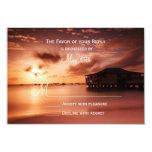 Sunset on Beach Harbor Marina Wedding RSVP Cards Custom Invites