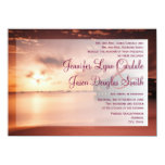 Sunset on Beach Harbor Purple Wedding Invitations