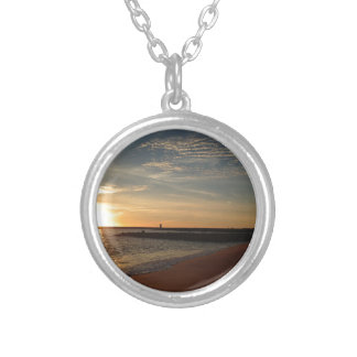 Sunset on Beach Silver Plated Necklace