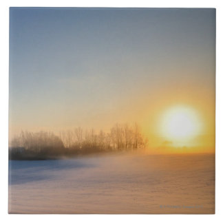 Sunset on Christmas Day in countryside Ceramic Tile