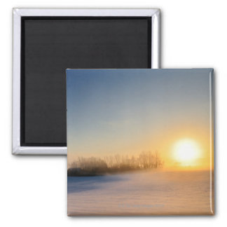 Sunset on Christmas Day in countryside Fridge Magnets