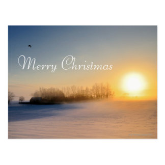 Sunset on Christmas Day in countryside Postcard