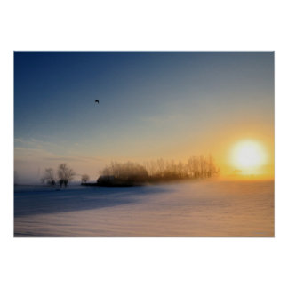 Sunset on Christmas Day in countryside Posters
