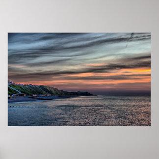 Sunset on Cromer Cliffs Poster