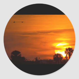 Sunset on Fire Classic Round Sticker