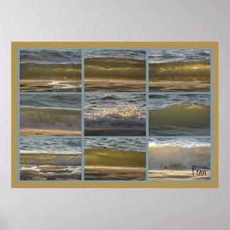 sunset on Glenelg' waves Poster