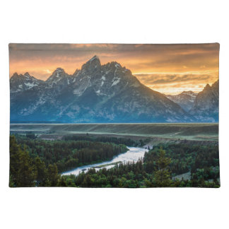 Sunset On Grand Teton And Snake River Cloth Placemat