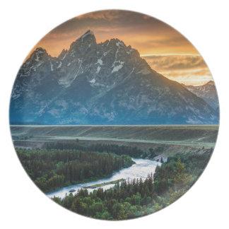 Sunset On Grand Teton And Snake River Melamine Plate