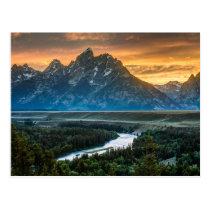 Sunset On Grand Teton And Snake River Postcard