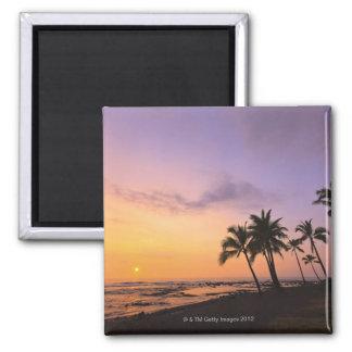 Sunset on Kahaluu Bay in Kona,Hawaii 2 2 Inch Square Magnet