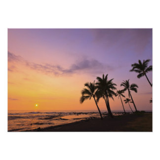 Sunset on Kahaluu Bay in Kona,Hawaii 2 Poster