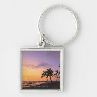 Sunset on Kahaluu Bay in Kona,Hawaii 2 Silver-Colored Square Keychain