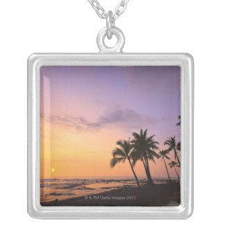 Sunset on Kahaluu Bay in Kona,Hawaii 2 Square Pendant Necklace
