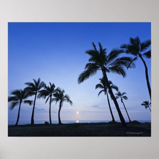 Sunset on Kahaluu Bay in Kona,Hawaii Poster