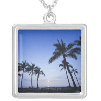 Sunset on Kahaluu Bay in Kona,Hawaii Square Pendant Necklace