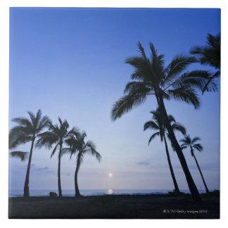 Sunset on Kahaluu Bay in Kona,Hawaii Large Square Tile