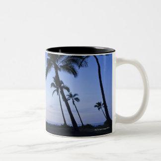 Sunset on Kahaluu Bay in Kona,Hawaii Two-Tone Coffee Mug