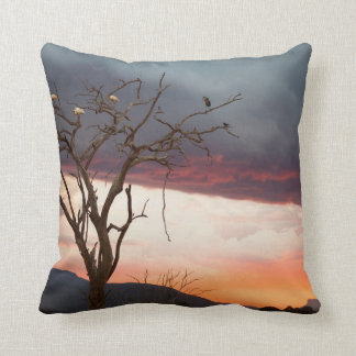 Sunset On Kandheri Swamp With African Spoonbills Throw Pillow