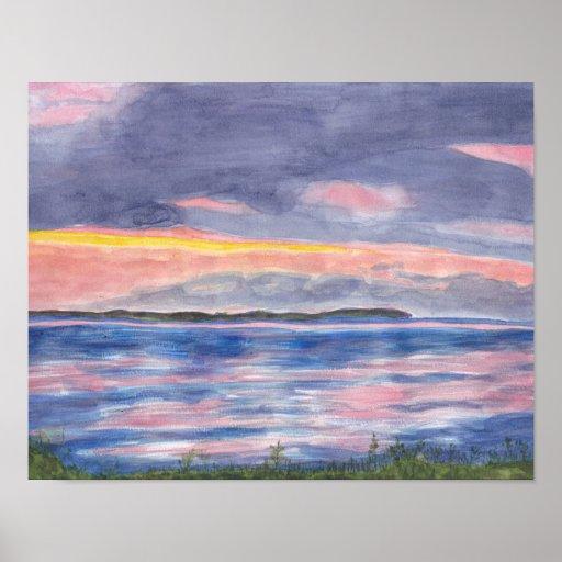 Sunset on Kelleys Island Watercolors Print