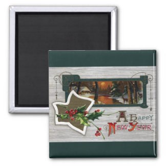 Sunset on Lake, Deer and Holly Vintage New Year Refrigerator Magnet