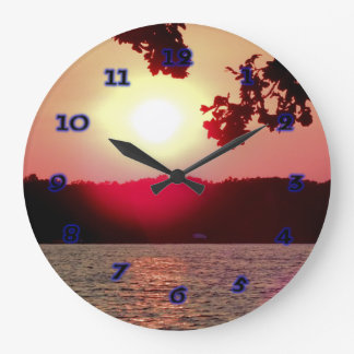 Sunset on Lake Large Clock