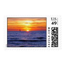 Sunset on Lake Michigan Postage