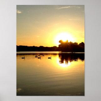 sunset on lake poster