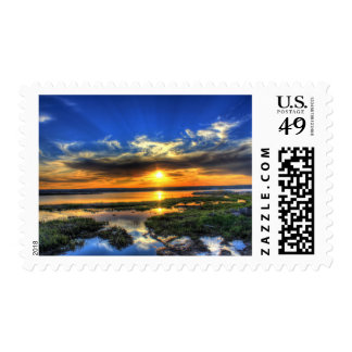 Sunset on Lake Superior Michigan Stamp